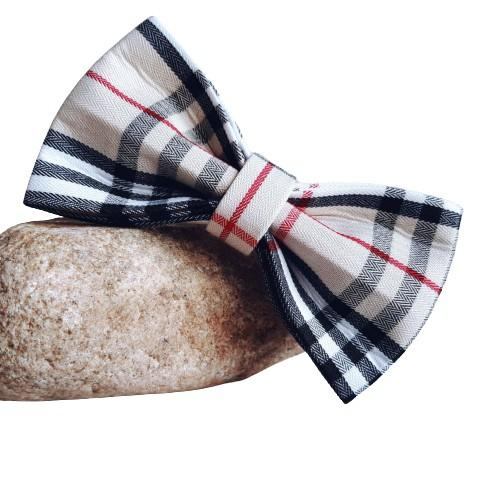 Dog Bow Tie Cream Check | Bold - SnuggleDogz