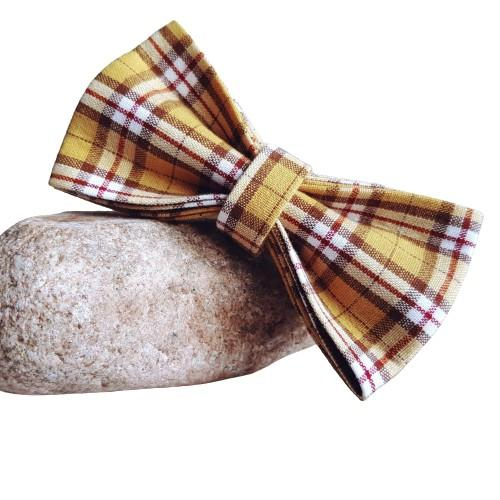 Dog Bow Tie Yellow Check | Bold - SnuggleDogz