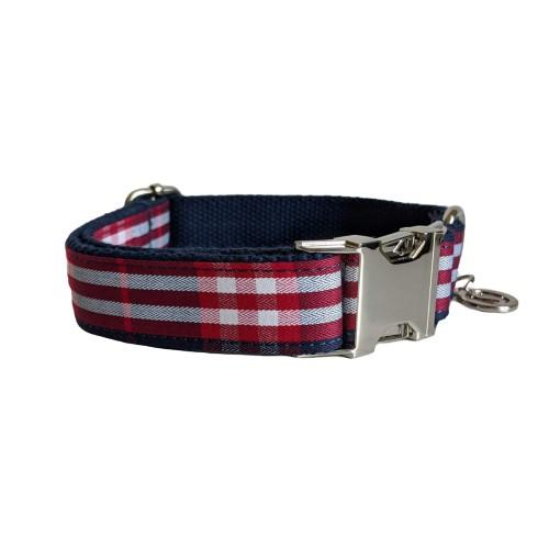 Dog Collar Blue Check | Bold - SnuggleDogz
