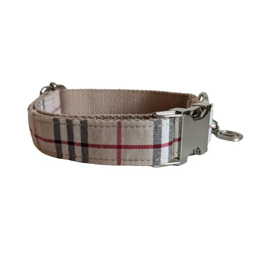 Dog Collar Cream Check | Bold XS / Silver - SnuggleDogz