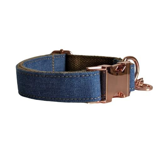 Dog Collar Dark Denim | Timeless XS / Rose Gold - SnuggleDogz