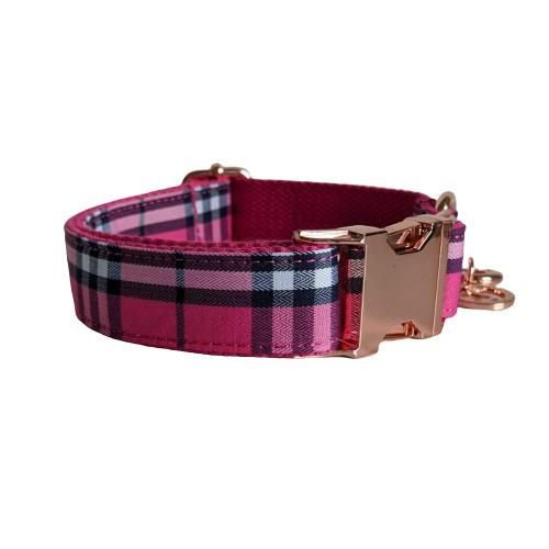 Dog Collar Pink Check | Bold - SnuggleDogz