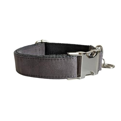 Dog Collar Velvet Grey | Timeless XS / Silver - SnuggleDogz