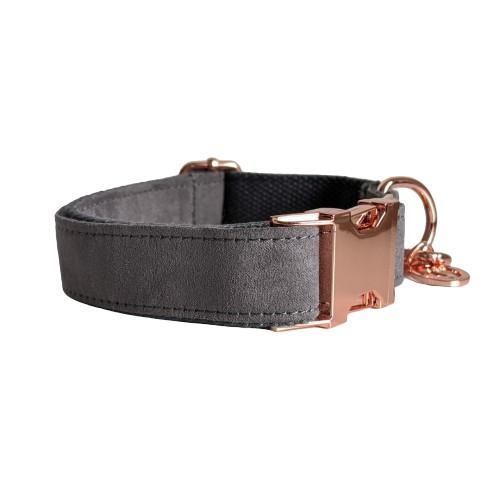 Dog Collar Velvet Grey | Timeless XS / Rose Gold - SnuggleDogz