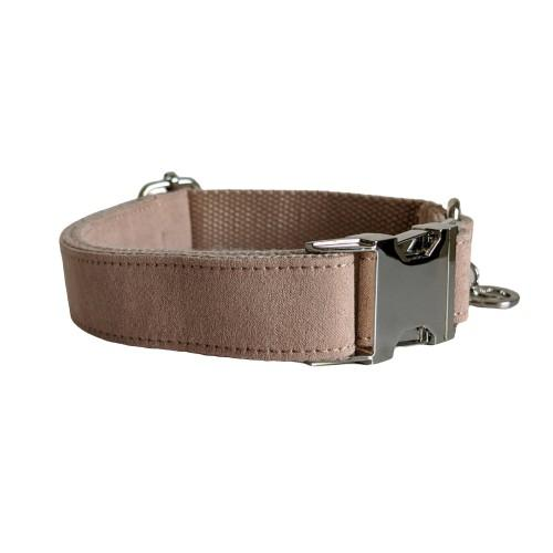 Dog Collar Velvet Wheat | Timeless XS / Silver - SnuggleDogz