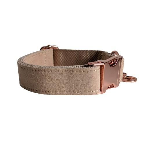 Dog Collar Velvet Wheat | Timeless XS / Rose Gold - SnuggleDogz