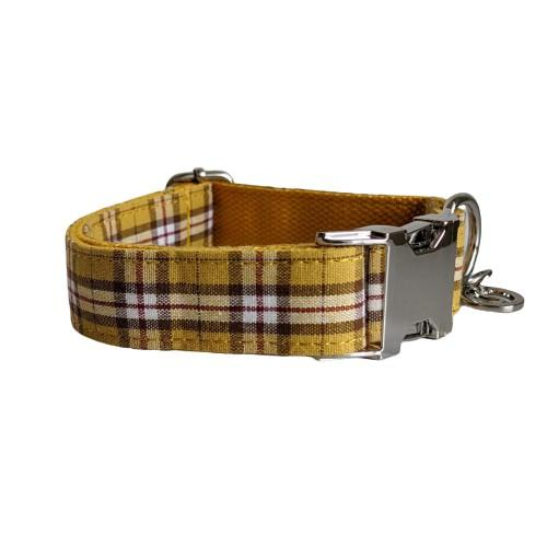 Dog Collar Yellow Check | Bold - SnuggleDogz