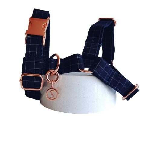 Dog Harness Blue | Dapper S / Rose Gold - SnuggleDogz