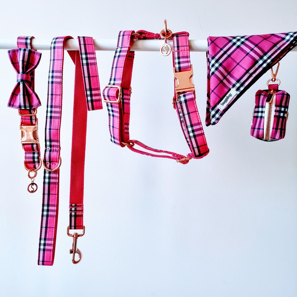 Dog Harness Pink Check | Bold - SnuggleDogz