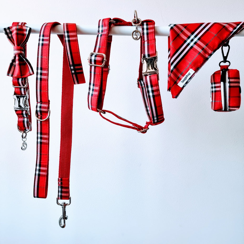 Dog Harness Red Check | Bold - SnuggleDogz