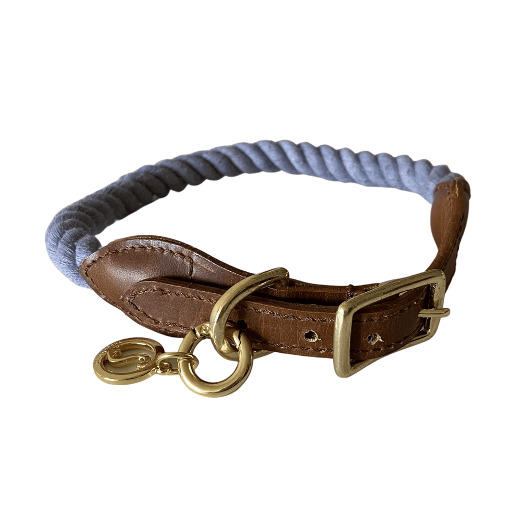 Rope Dog Collar Silver Grey | Twisted 2.0 - SnuggleDogz