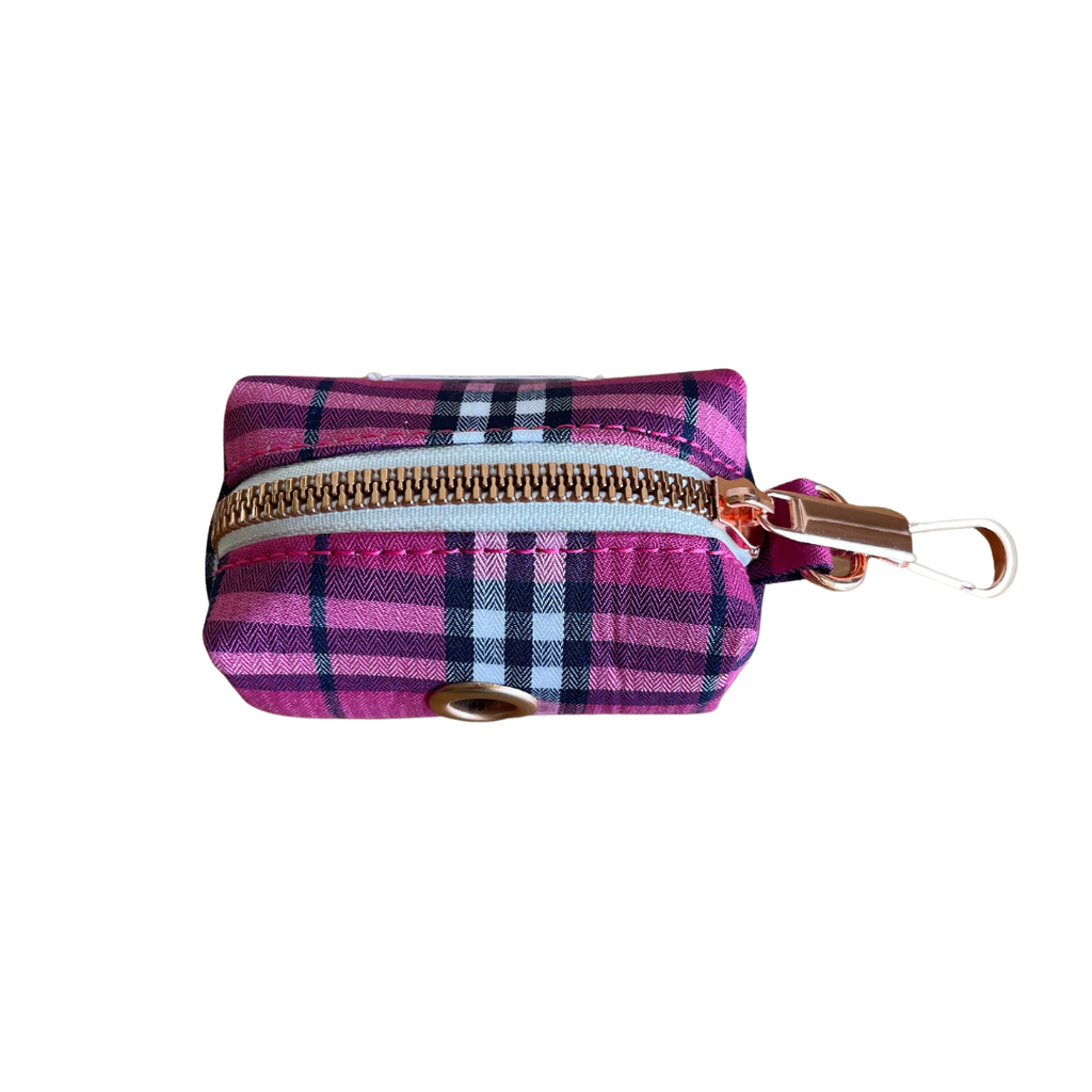 Dog Waste Bag Holder Pink Check | Bold - SnuggleDogz