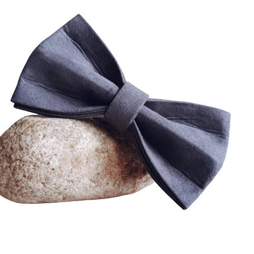Dog Bow Tie Velvet Grey | Timeless - SnuggleDogz