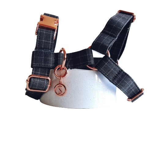Dog Harness Grey | Dapper S / Rose Gold - SnuggleDogz