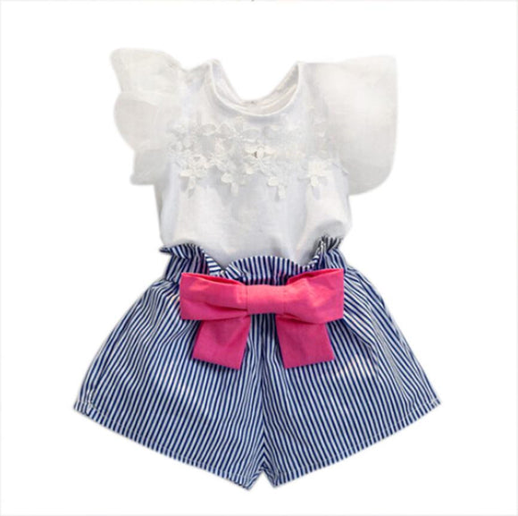 Girls Lace T-shirt+Stripe Shorts Set Clothes Suit Girls clothing Children clothing set Drop ship