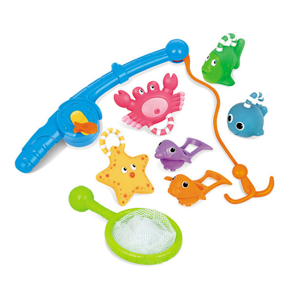 8pcs Baby Fishing Floating Squirts Toy Bath Toys  Bath Time Toys Set Sand Fishing Toy