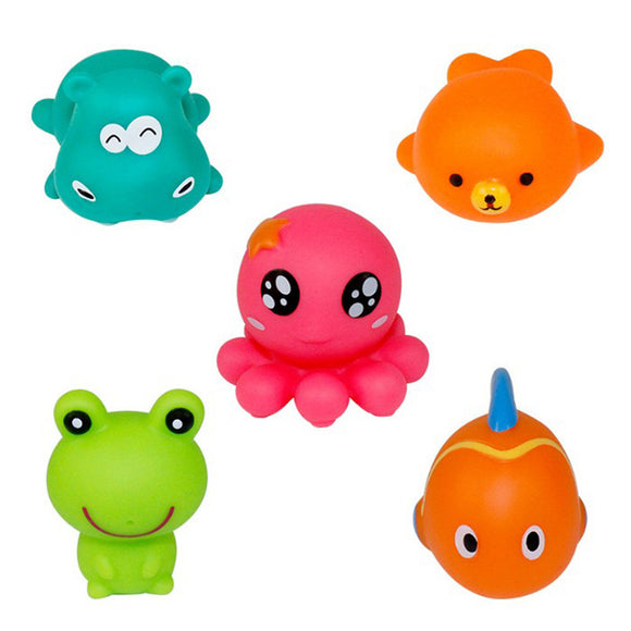 5pcs Baby Bathing Toy Animal Squeeze Sound Toy Kid Game Toys Beach Toy Swimming Toy