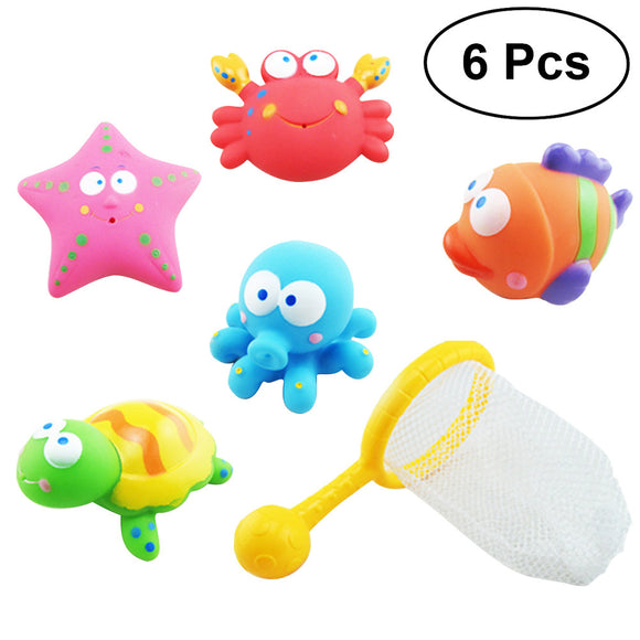 6pcs Baby Fishing Floating Squirts Toy Bath Toys Bath Time Toys Set Sand Fishing Toy