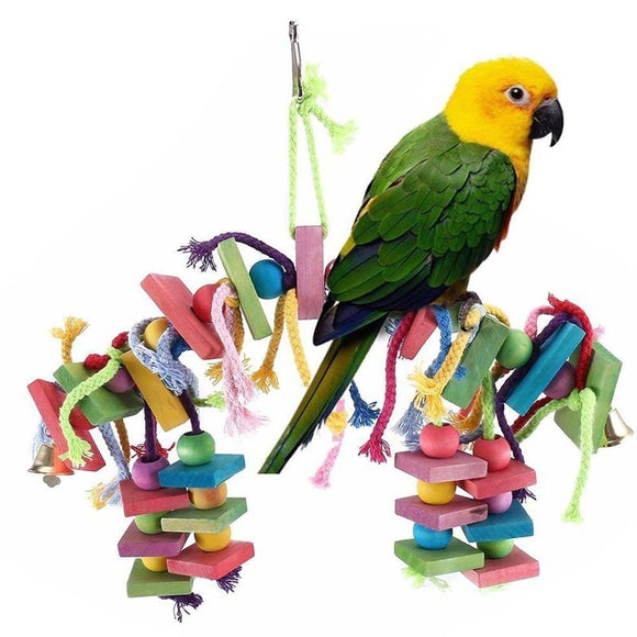 Parrot Toy Bird Toy Parrot Colorful Wooden Blocks Bite Toys