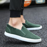 Men's Single Shoes College Style Canvas White Shoes Student Shoes