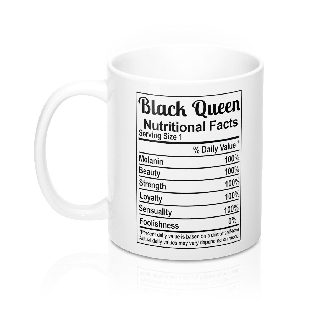 Black Queen Nutrition Facts Coffee Mug