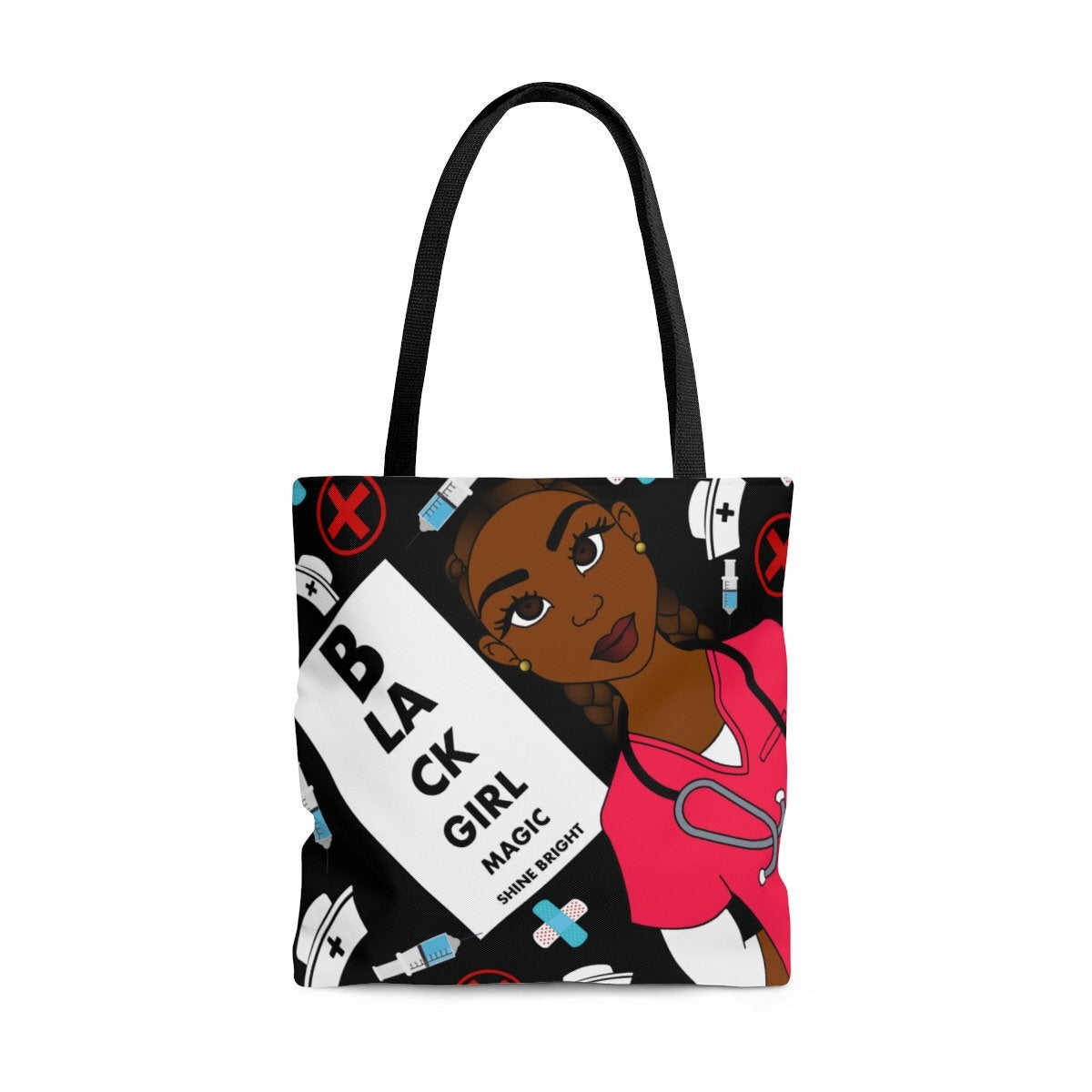 Afrocentric Woman Nurse Canvas Bag