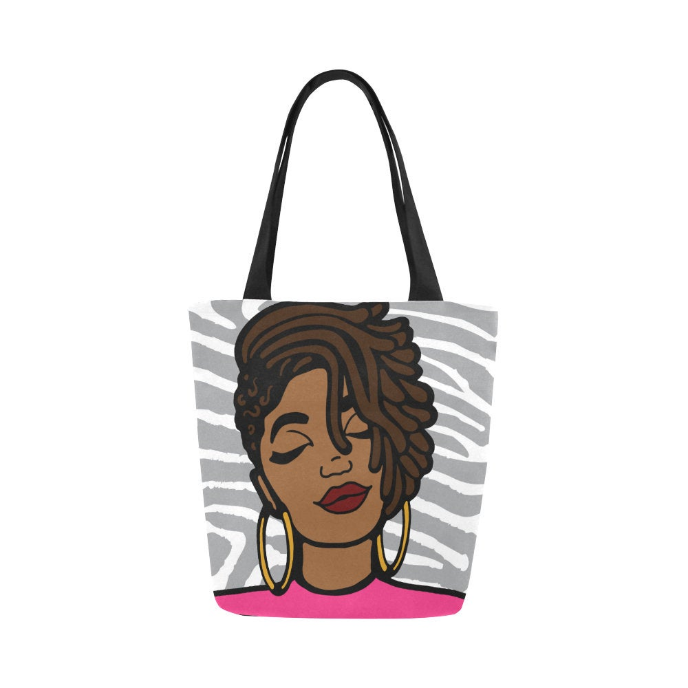 Afrocentric Lady In Pink Canvas Bag