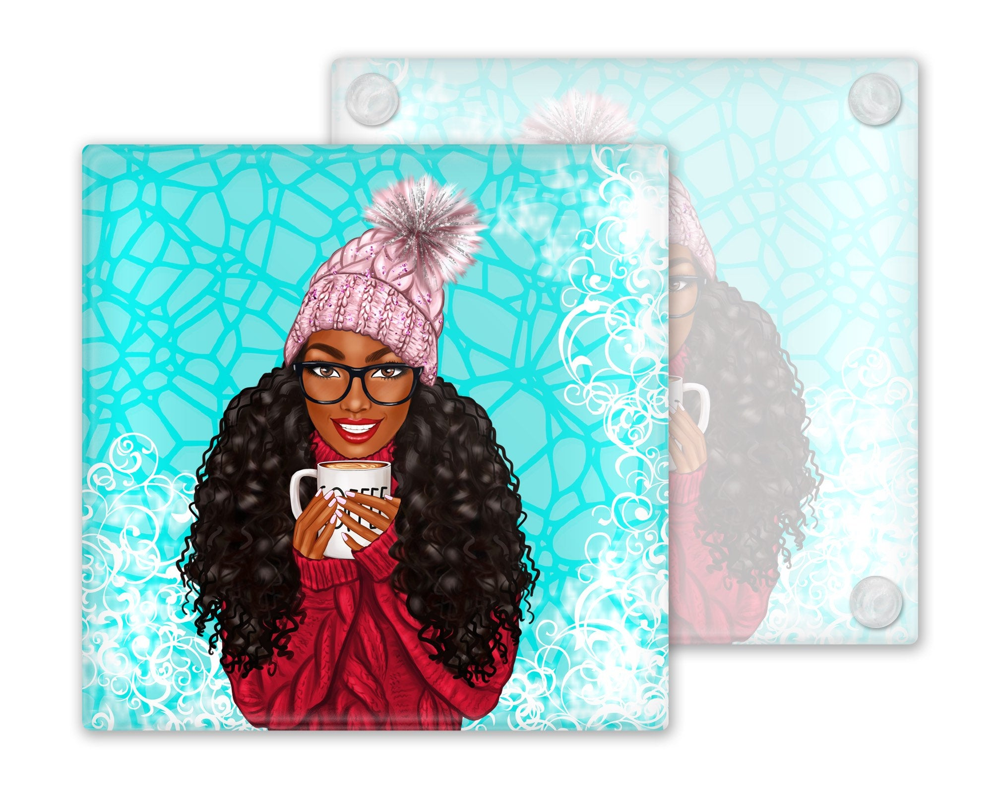 Afrocentric Winter Girl Glass Coasters, Set of 4