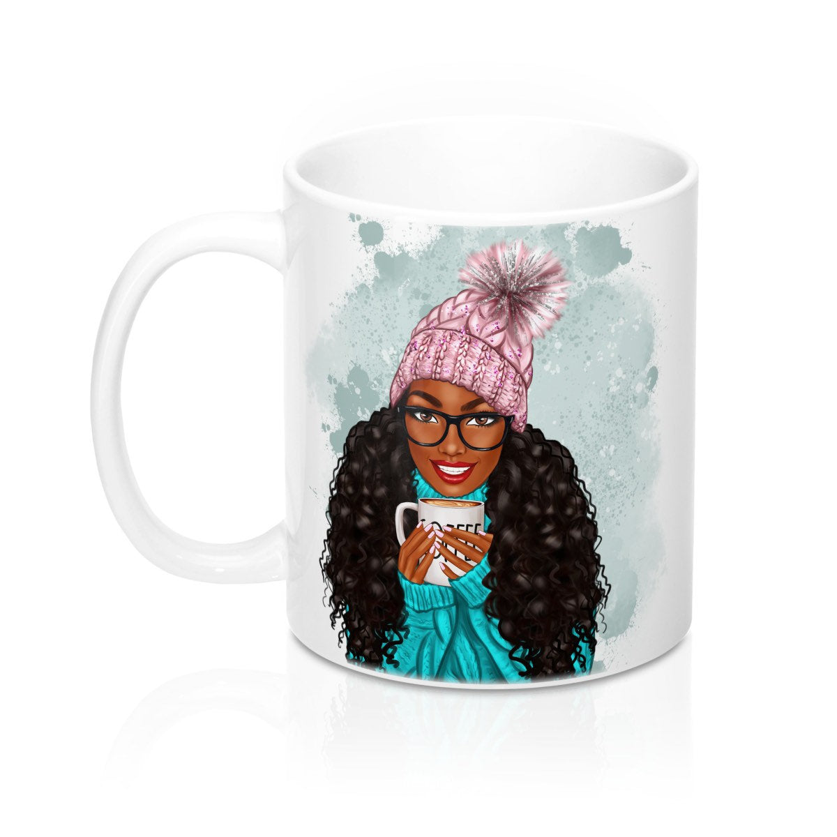 Black Woman Drinking Coffee Mug