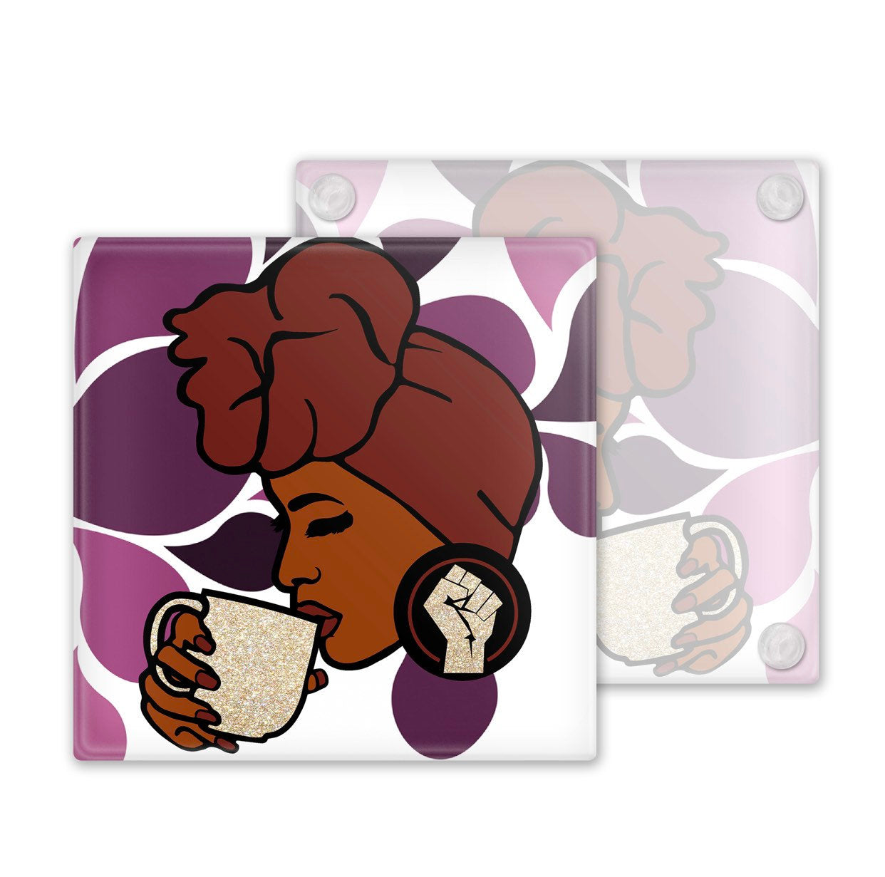 Afrocentric Woman In Head Wrap Glass Coasters, Set of 4