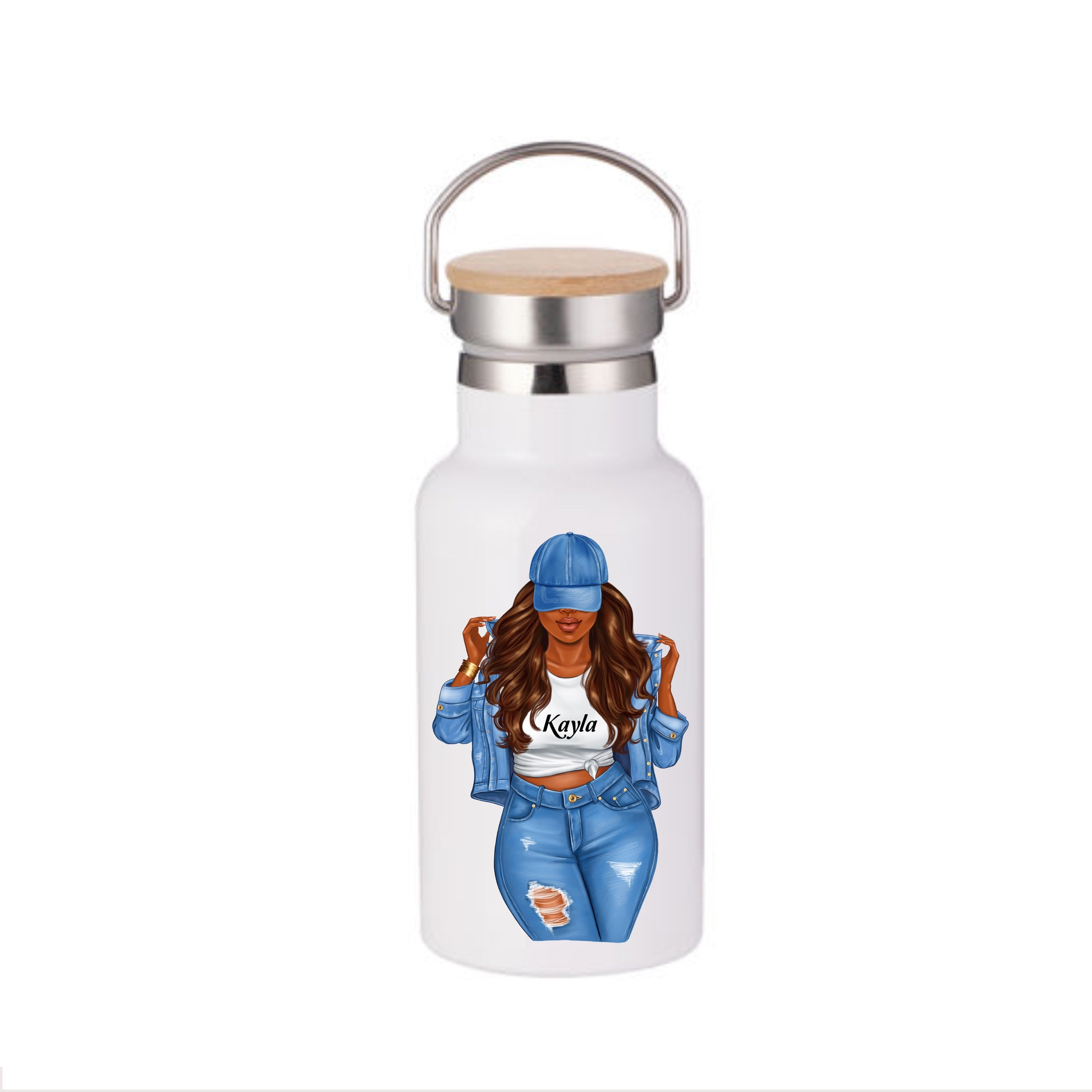 Afrocentric water bottle, Black Woman water bottle, water bottle, Custom water bottle