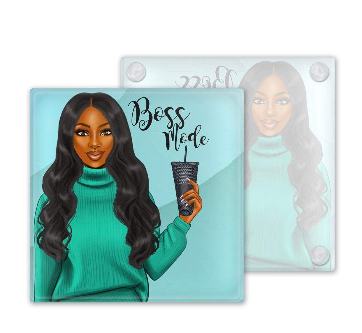 Afrocentric Boss Mode Glass Coasters, Set of 4