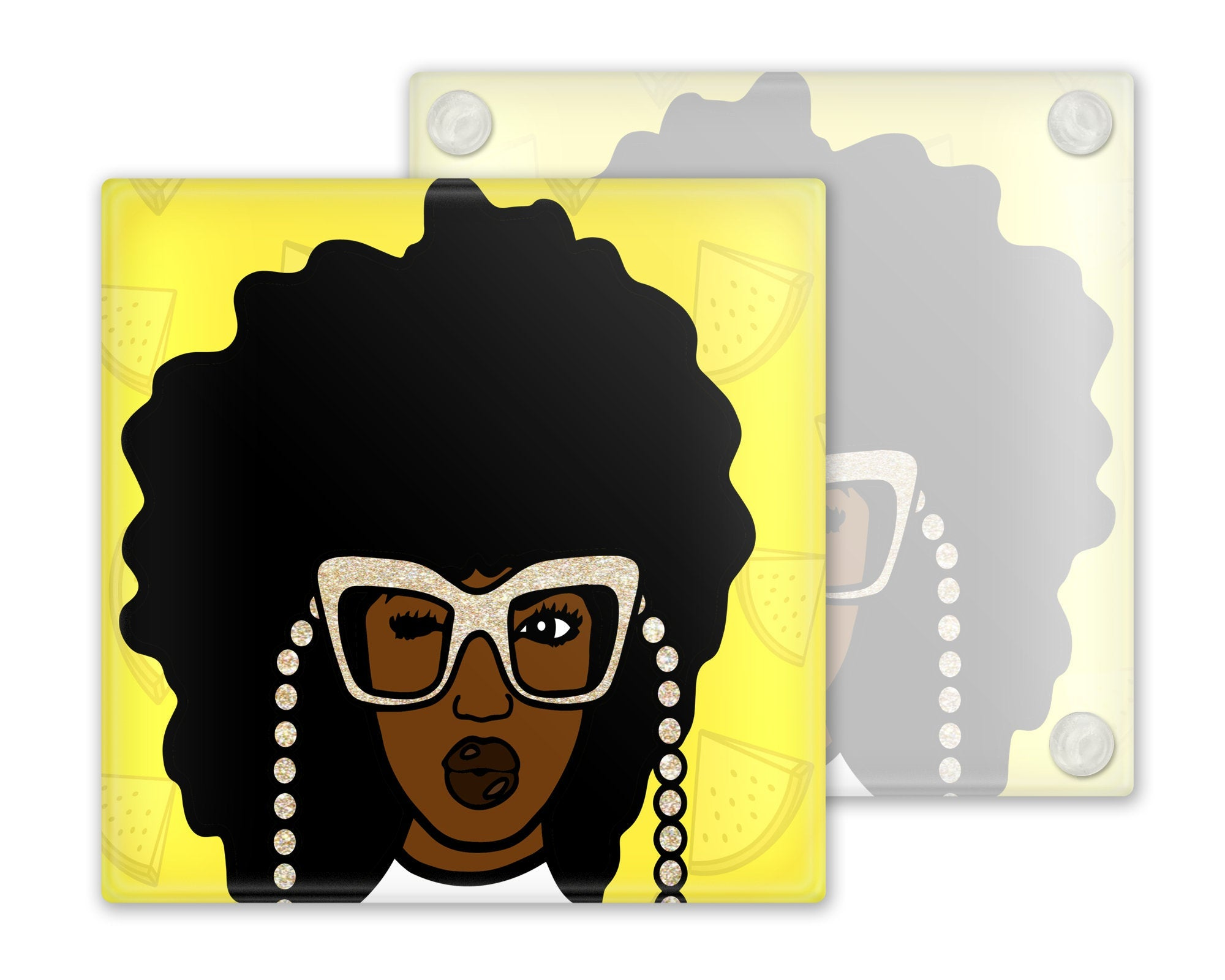 Afrocentric Glass Coasters, Set of 4