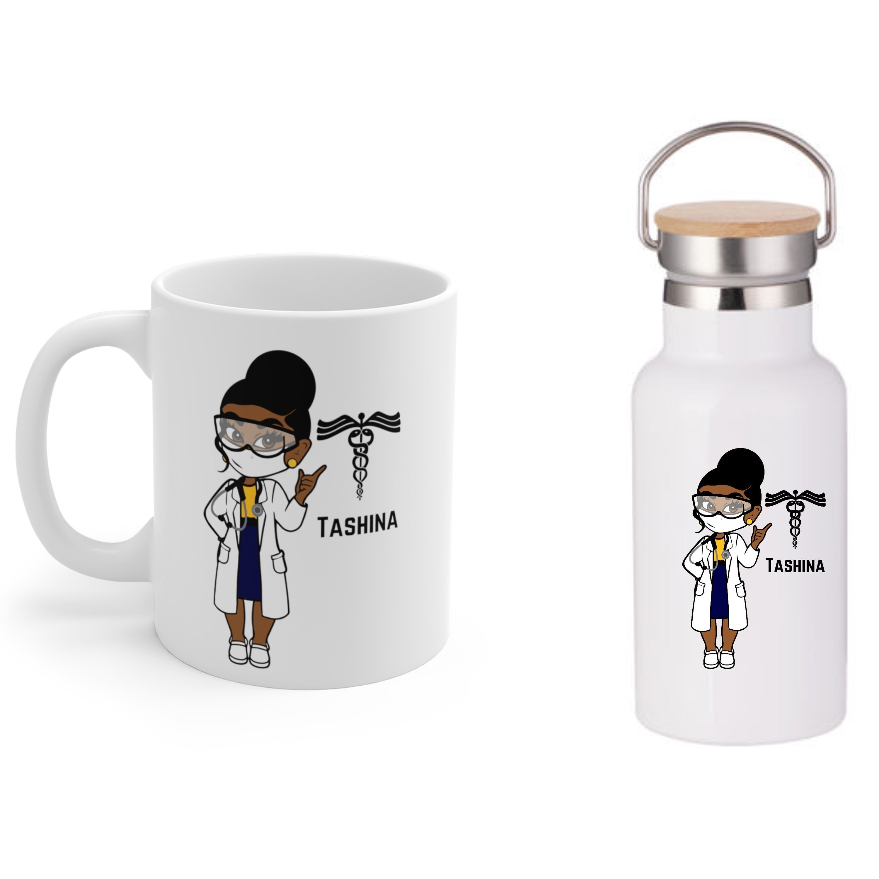 Black Woman Doctor Coffee Mug and Water Bottle
