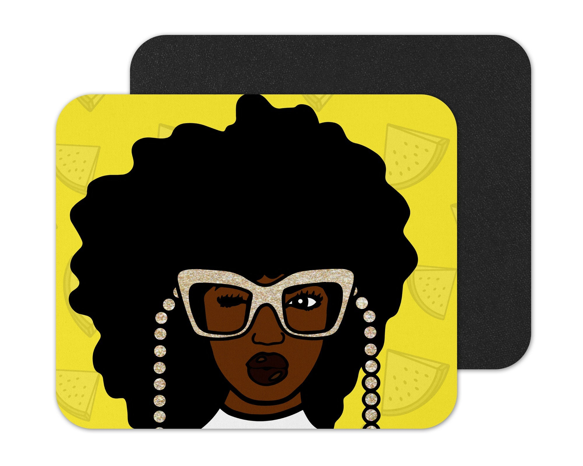 Black Woman With Glasses Mouse Pad