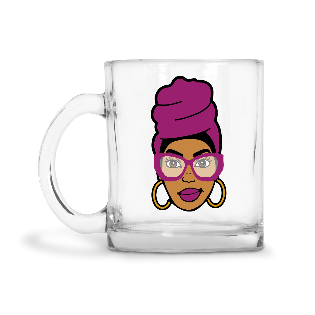 Black Woman Headwrap Glass Mug