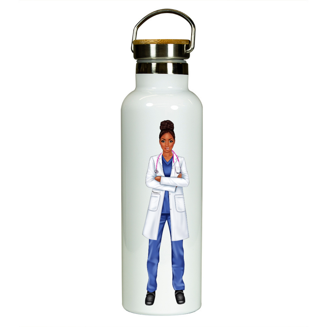 Black Woman Doctor Water Bottle