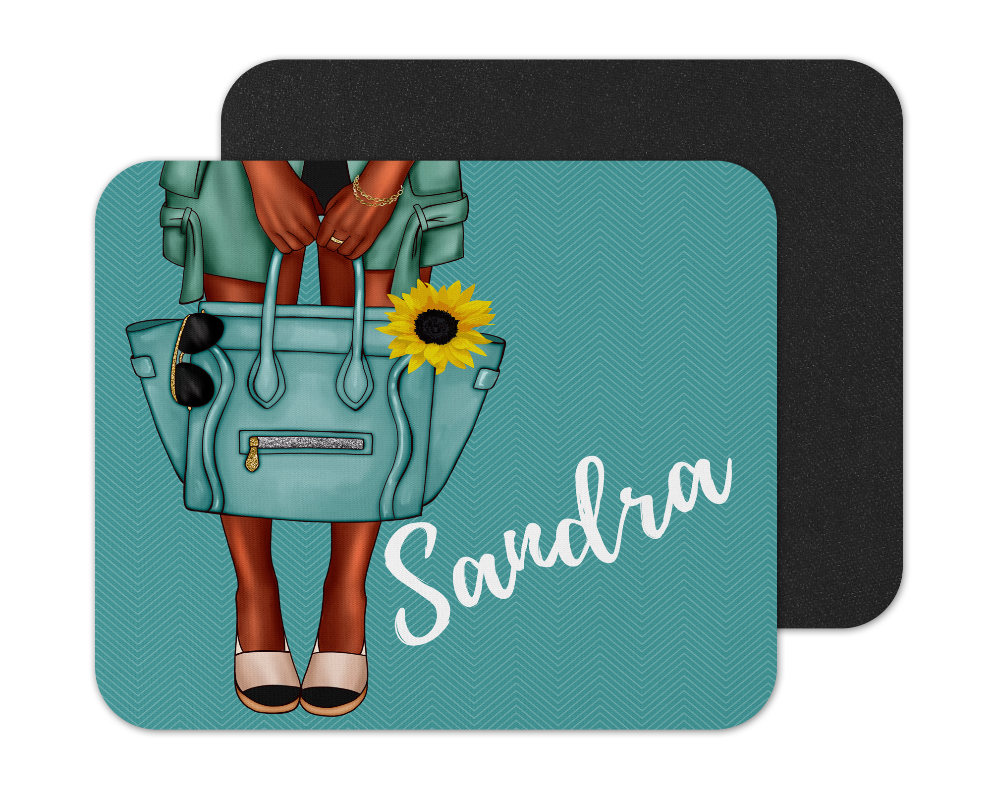 Sunflower Afrocentric Woman Mouse Pad