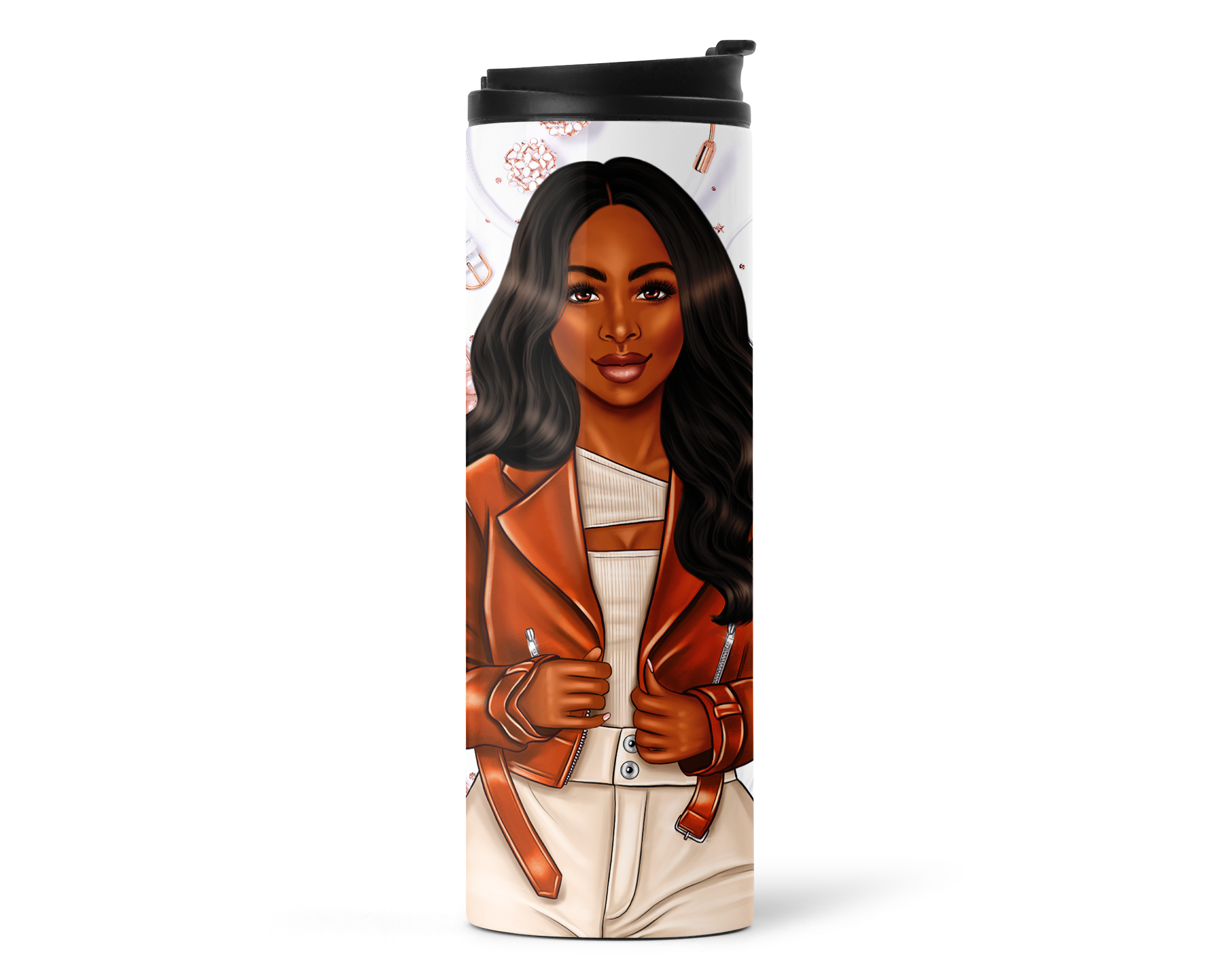 Black Woman 16oz Travel Tumbler