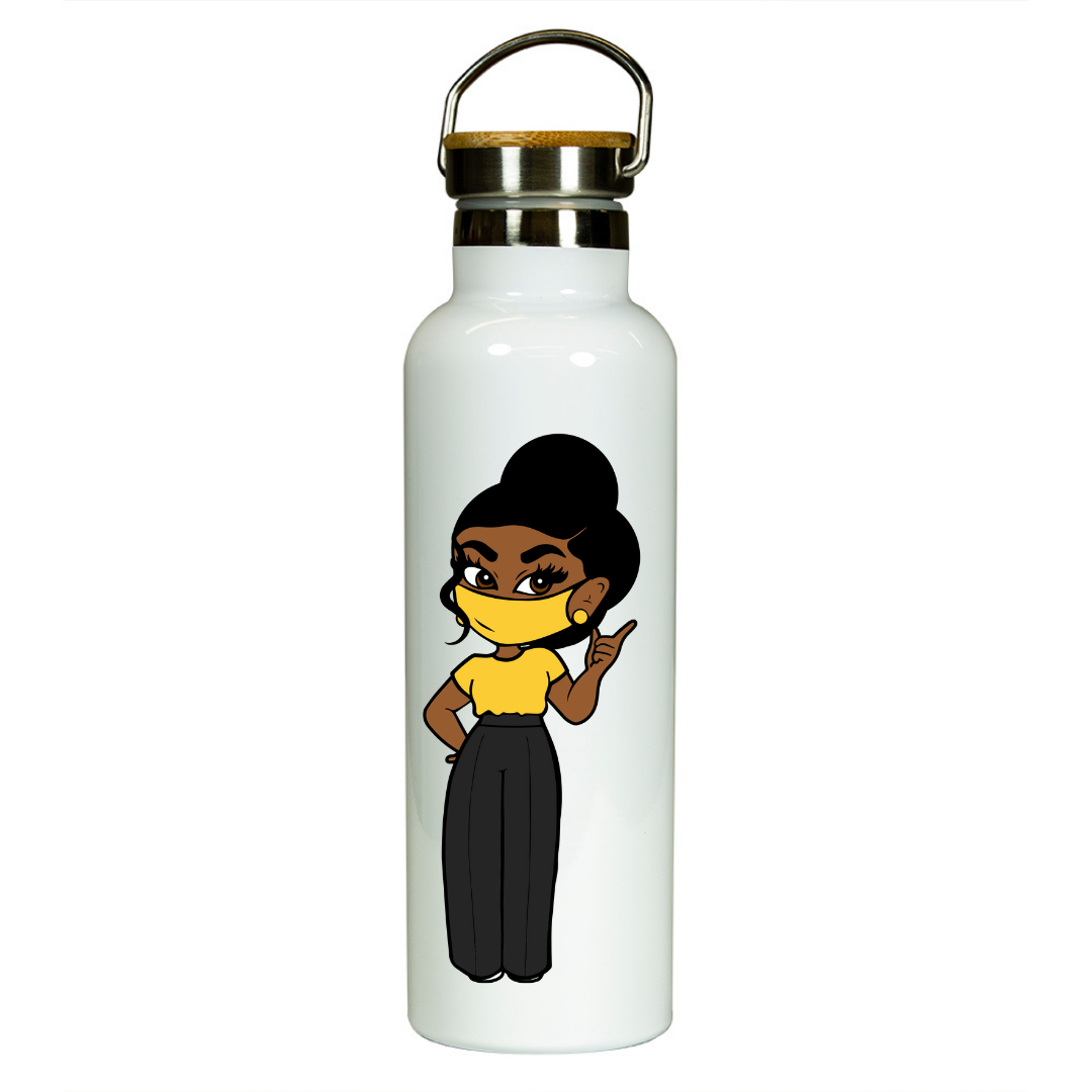 Black Woman In Yellow Water Bottle