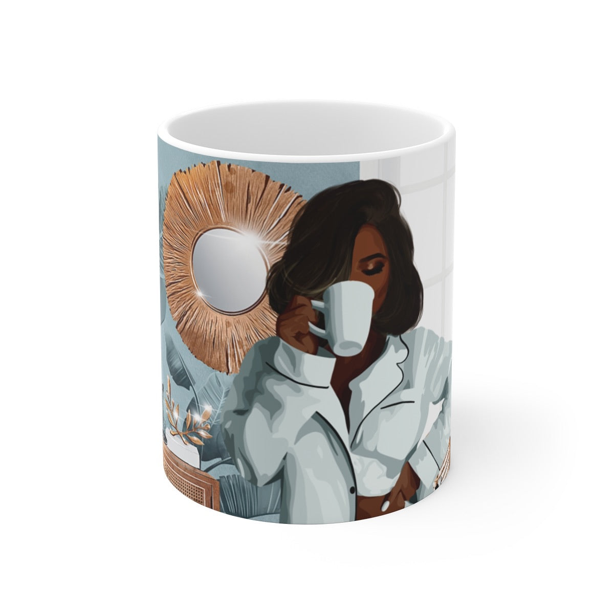 Black Woman Morning Vibes Mug