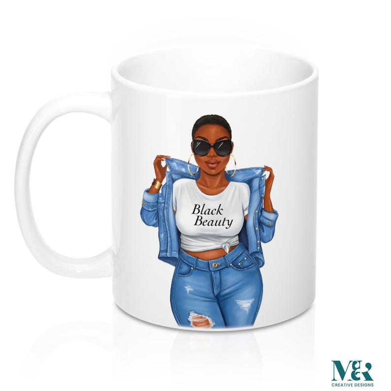 Afrocentric Woman In Denim Mug