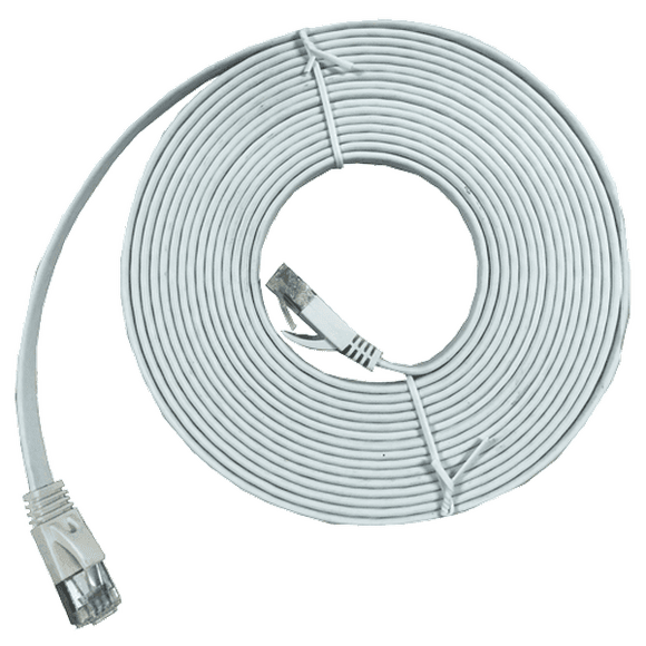 XIC-10 10m shielded Cat 7 flat interface cable, White, M-M