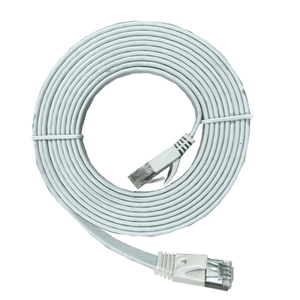 XIC-6.0 6m shielded Cat 7 flat interface cable, White, M-M
