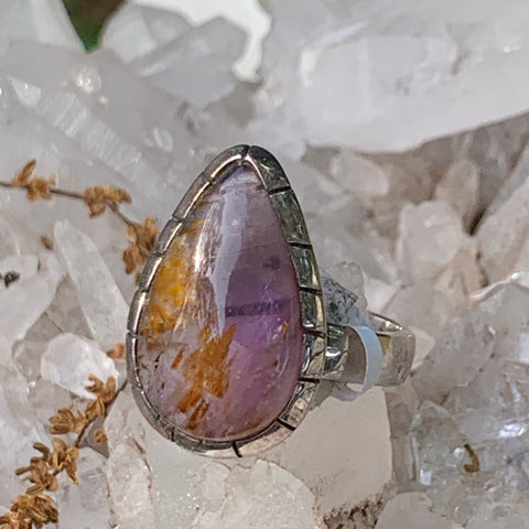 Super 7 Amethyst Ring sz8