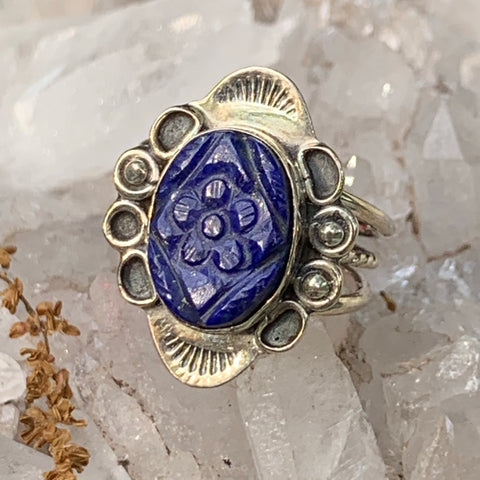 Lapis Carved Flower Ring sz8