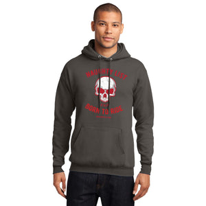 Born to Ride - Adult Fleece Hoodie in Charcoal and Red Print | thenaughtylist.com