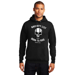 Born to Ride - Men's Fleece Hoodie in Jet Black and White Print | thenaughtylist.com