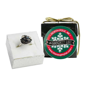 Christmas Coal Ring in a Black Ring Box by The Naughty List.