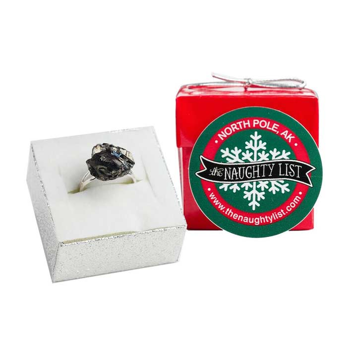 Christmas Coal Ring in a Red Shiny Ring Box by The Naughty List.